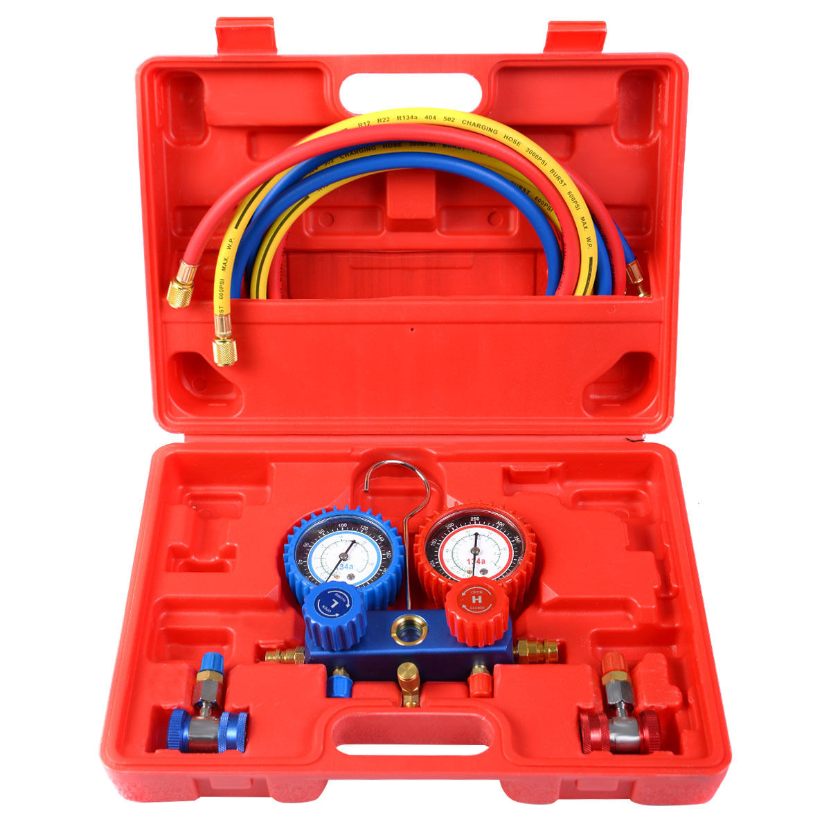 R134A Manifold Gauge Set AC A/C 6FT Colored Hose Air Conditioner w/ Case AT4307