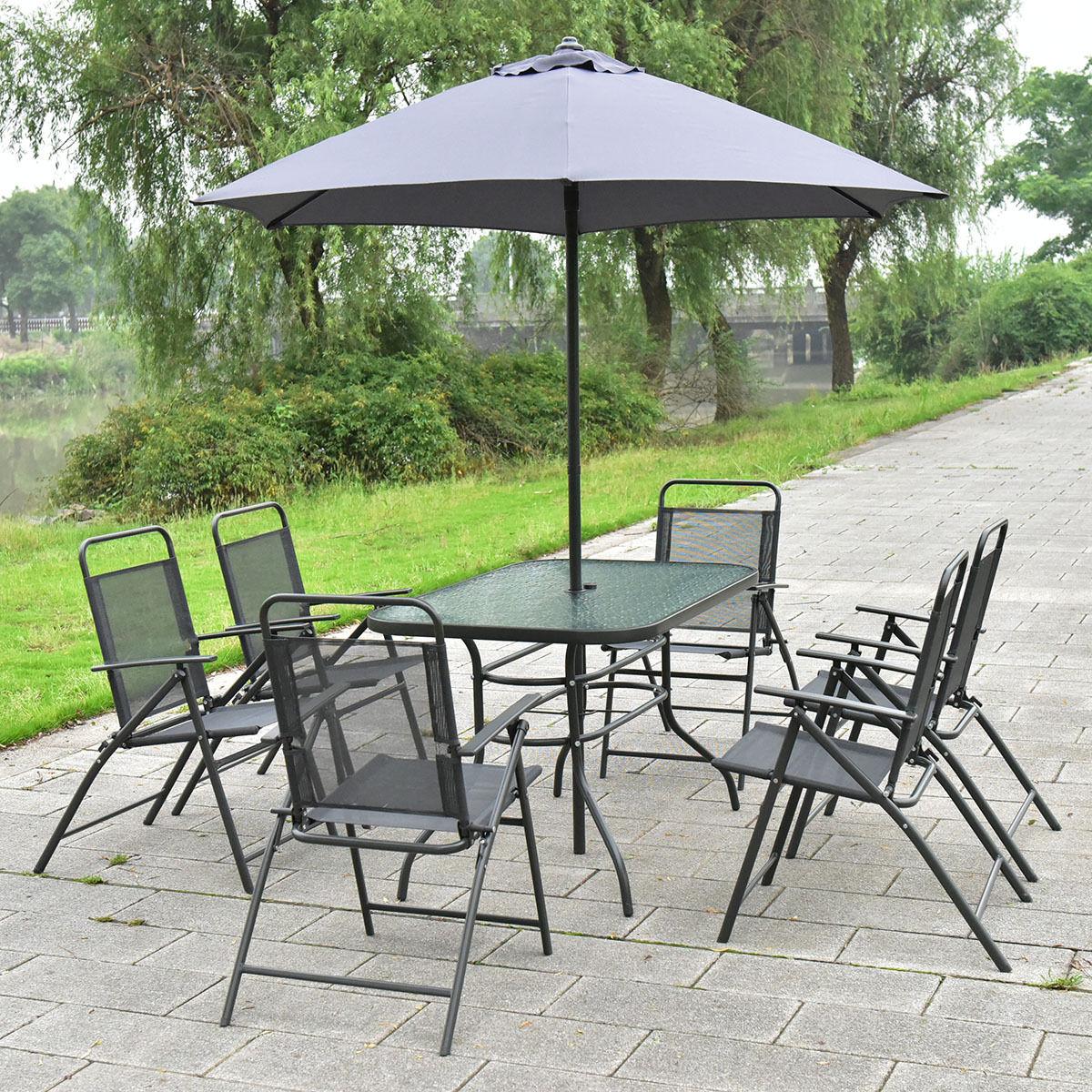 8 pcs Outdoor Patio Square Folding Furniture Set with Umbrella