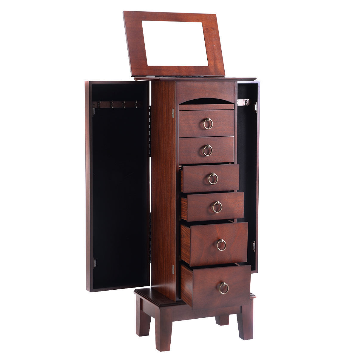 Wooden Jewelry Cabinet Storage Organizer with 6 Drawers