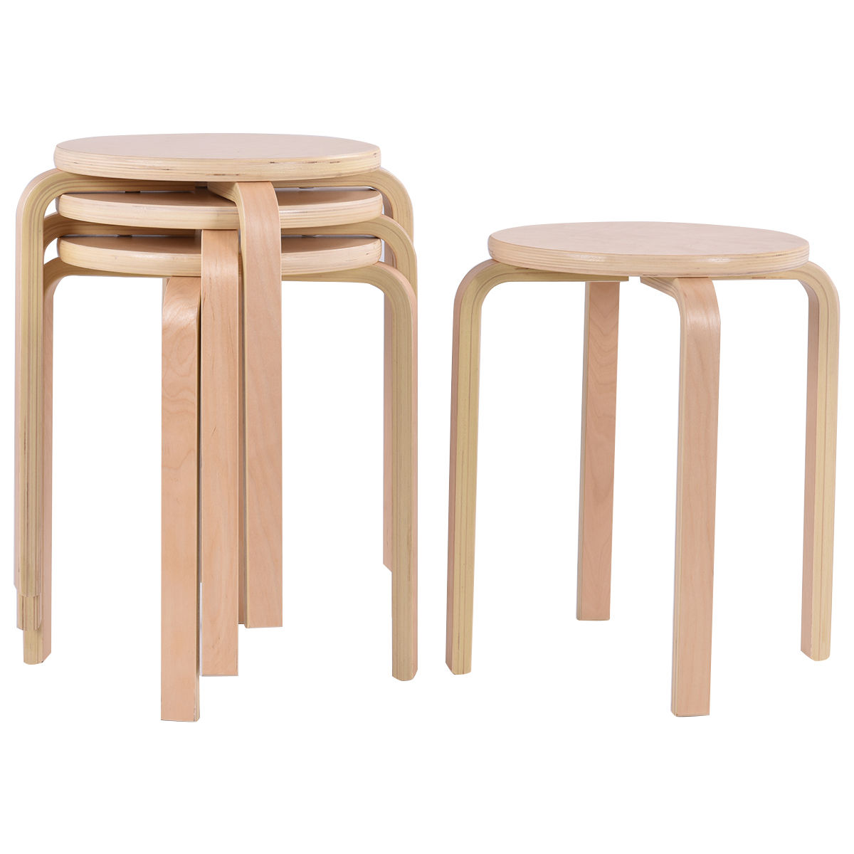Set of 4 Wood Children Dining Stools HW52441