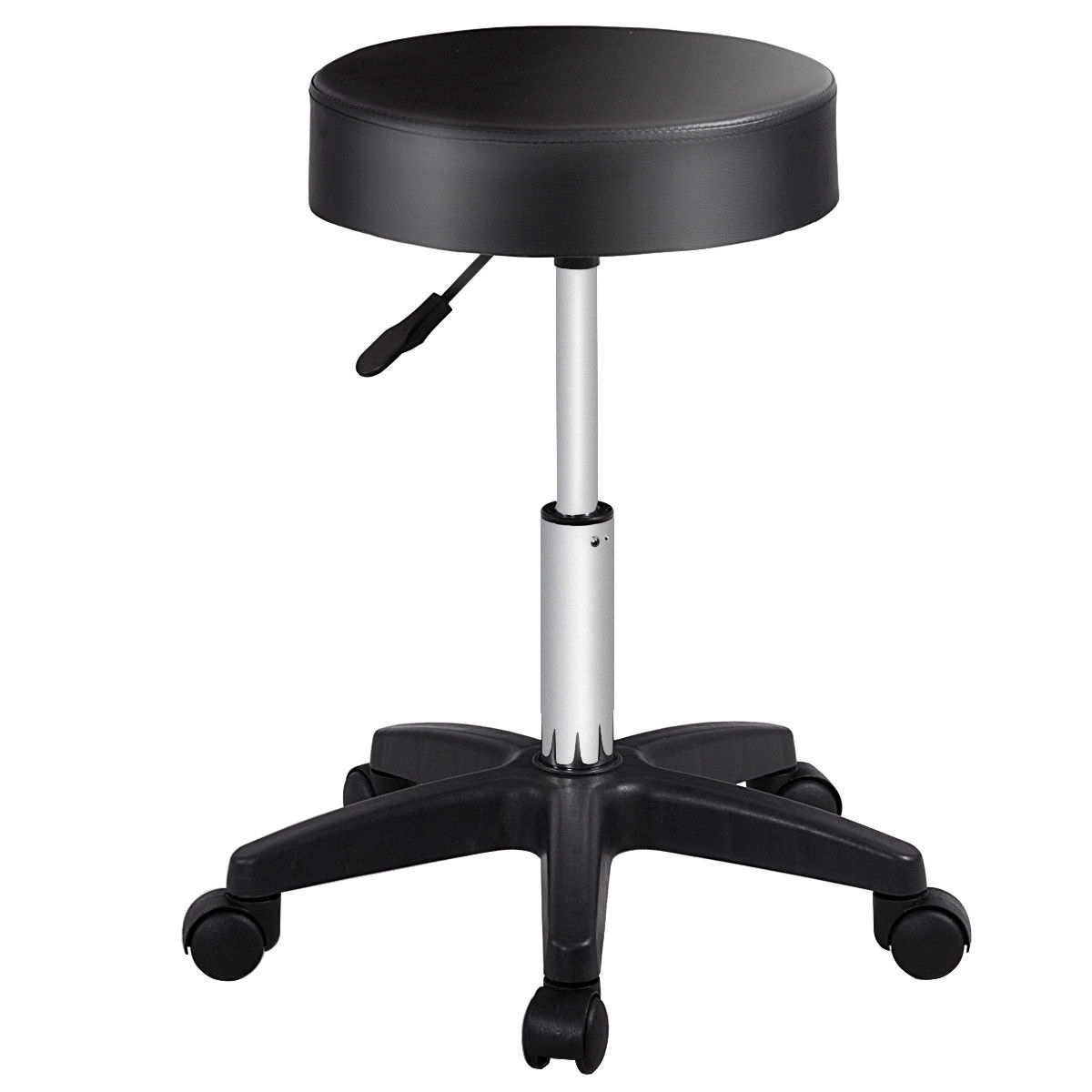 This comfortable PU leather cushion seat stools with adjustable height on casters for easy mobility. It features steel frame, strong caster, PU padded seat cushion that all make it stable, sturdy and comfortable. The seat height is adjustable and ideal for being used in hairdressers, beauticians, barbers, dentists, tattoo makers. The hydraulic adjustable height with handles which can be easy and safe for adjustment. You can also move it easily with 5 wheels. If you are looking for a spa stool, don't hesitate to own it! Brand new and high quality 360° swivel design Wear-resisting, breathable, ageing resisting and no peculiar smell Round cushion, filled with high density high quality sponges, increasing comfort while not easy to deform Hydraulic adjustable height with handle, easy and safe for adjustment Smooth to move with 5 wheels and easy to clean Contemporary design, perfect for bars, pub, salon, spa, medical office, massage, etc. Simple assem