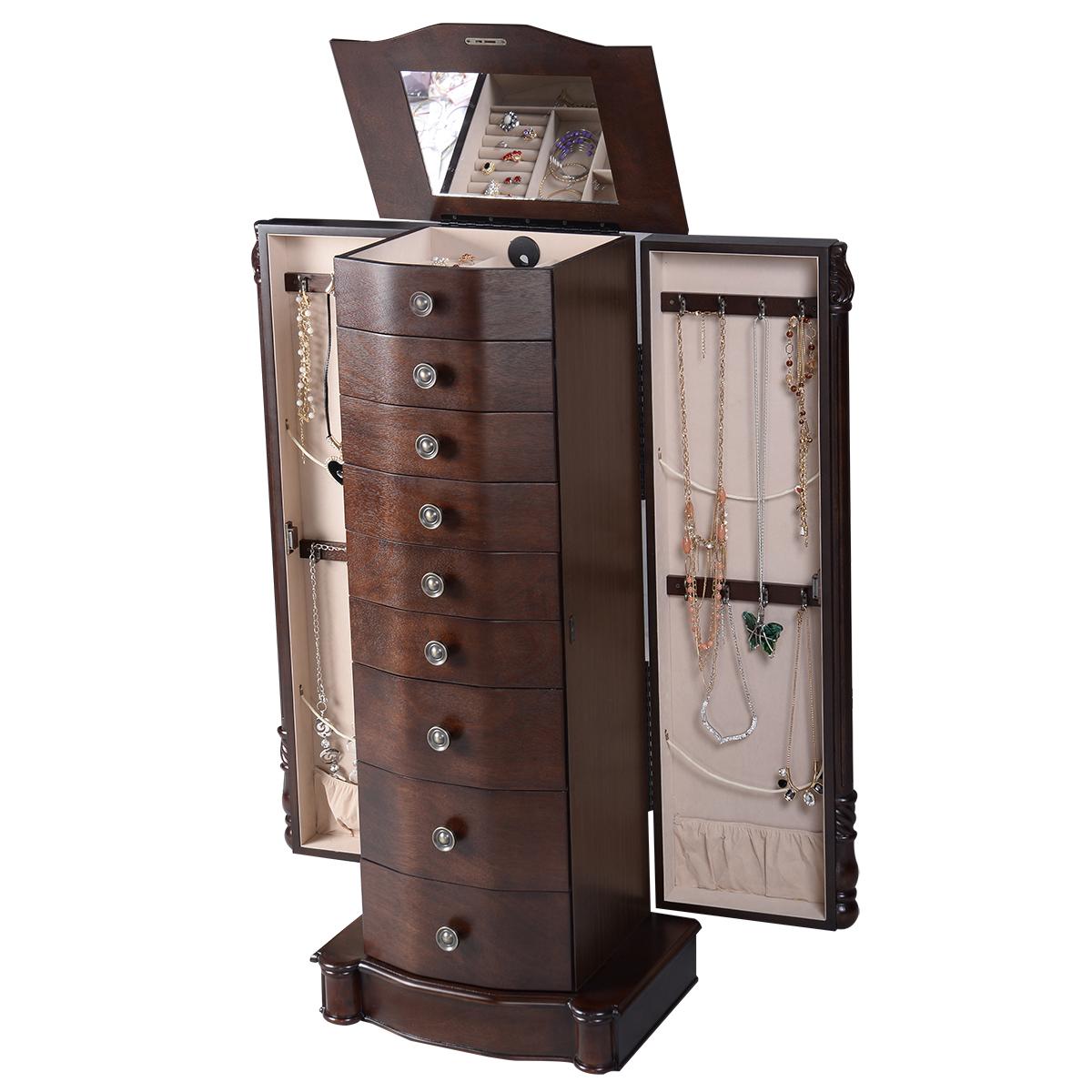 Large Wooden Jewelry Storage Box Organizer