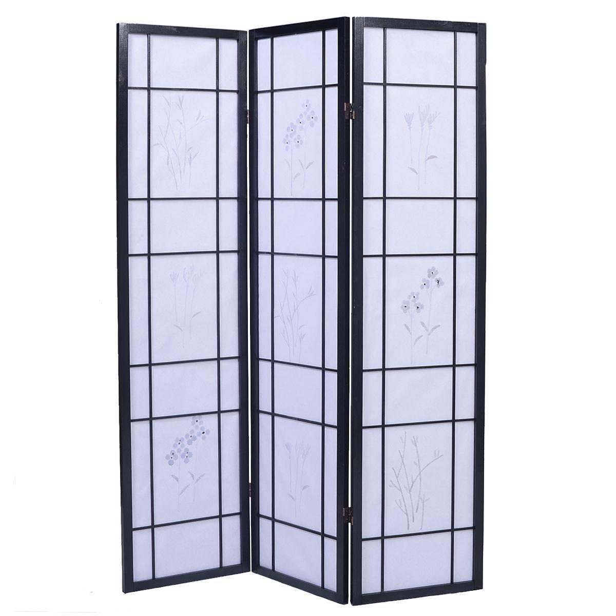 3 Panels Printing Flower Solid Wood Room Screen