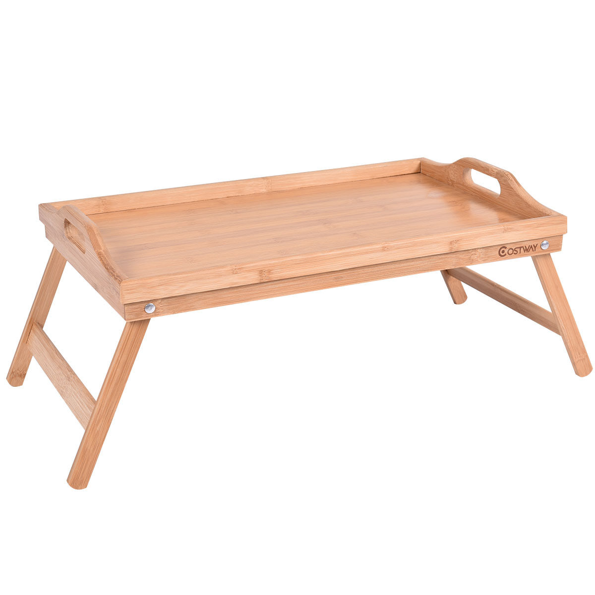 Portable Bamboo Breakfast Bed Tray w/ Handle