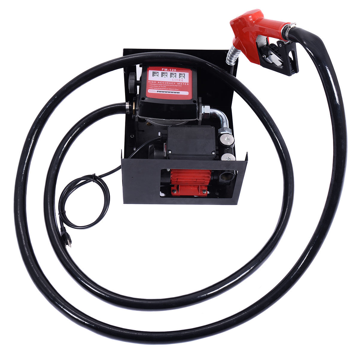 Electric Diesel Oil Transfer Pump 110V Fuel Manual Nozzle Hose w/ Meter