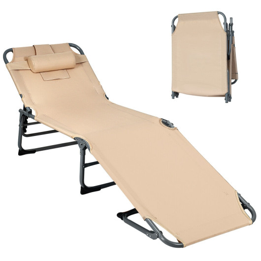 Folding Chaise Lounge Chair Bed Adjustable Outdoor Patio Beach-Beige