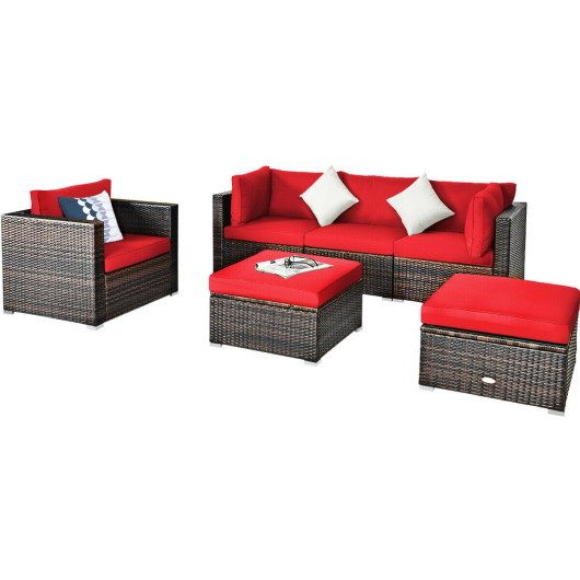 6 Pcs Patio Rattan Furniture Set with Sectional Cushion-Red