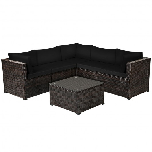 6 Pieces Patio Furniture Sofa Set with Cushions for Outdoor-Black
