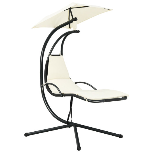 Patio Hanging Hammock Chaise Lounge Chair with Canopy Cushion for Outdoors-Beige