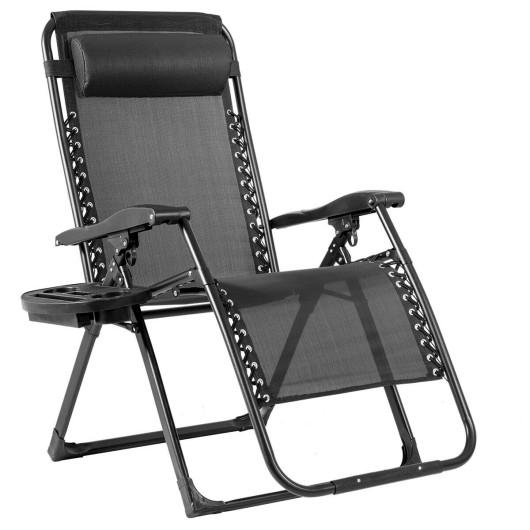 Oversize Lounge Chair Patio Heavy Duty Folding Recliner-Black