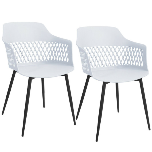 Set of 2 Modern Hollow Back Dining Chair