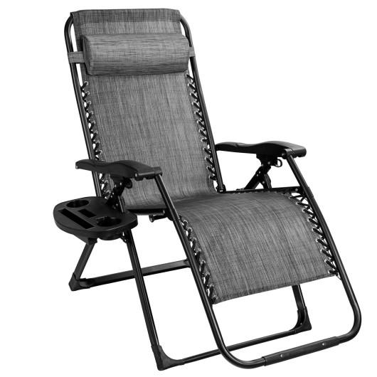 Oversize Lounge Chair Patio Heavy Duty Folding Recliner-Gray