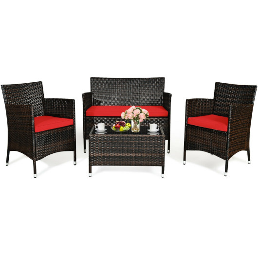 4 Pcs Rattan Outdoor Patio Conversation Furniture Set with Glass Table and Comfortable Wicker Sectional Sofa