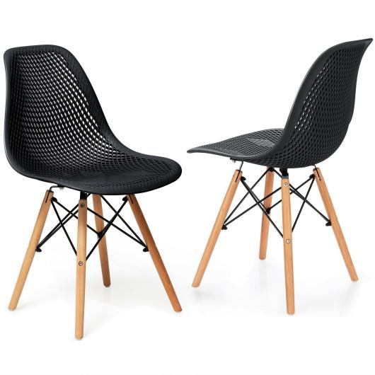 2 Pcs Modern Plastic Hollow Chair Set with Wood Leg-Black