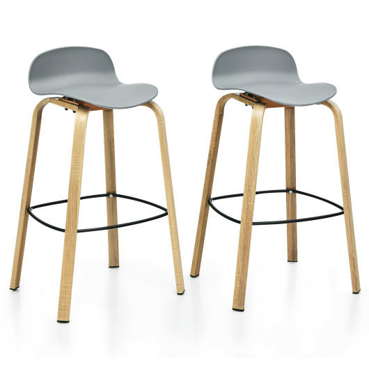 Set of 2 Modern Barstools Pub Chairs with Low Back and Metal Legs-Gray