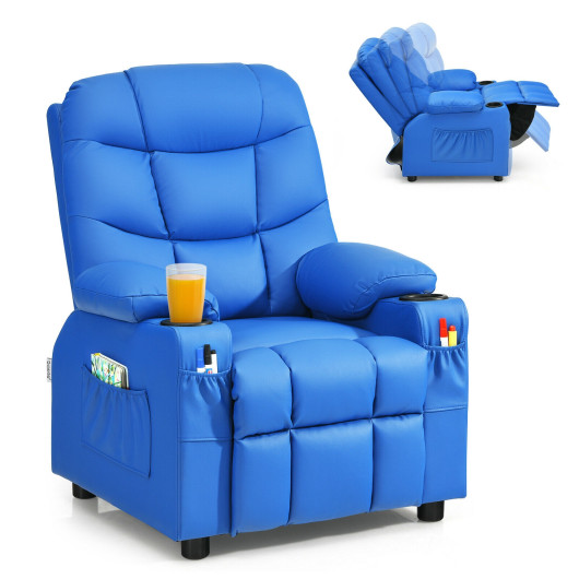 PU Leather Kids Recliner Chair with Cup Holders and Side Pockets-Blue