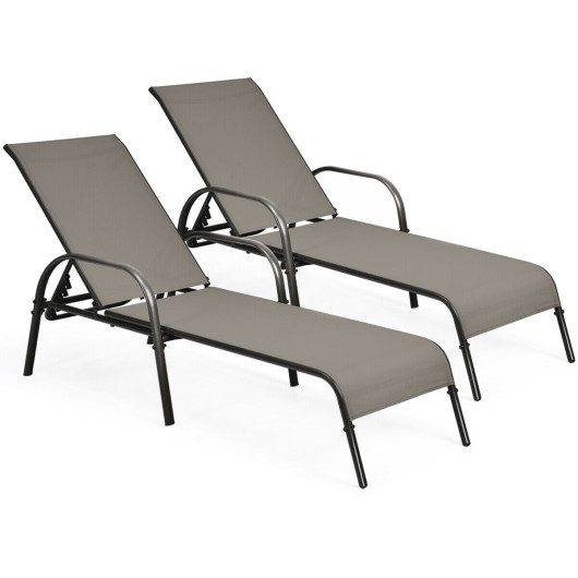 2 Pcs Outdoor Patio Lounge Chair Chaise Fabric with Adjustable Reclining Armrest-Brown