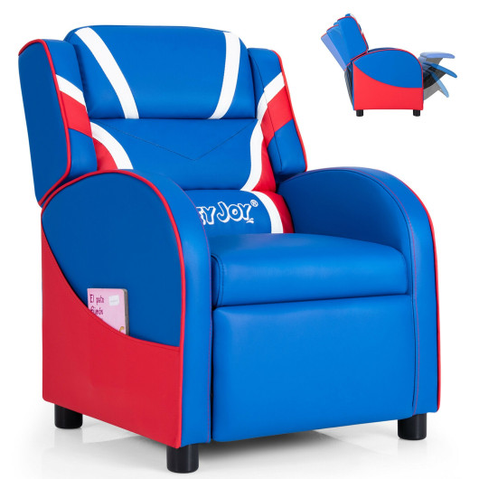 Kids Leather Recliner Chair with Side Pockets-Blue