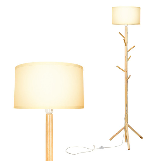 Multifunctional Wood Floor Light with 6 Hooks and E26 Lamp Holder for Living Room Bedroom Hallway