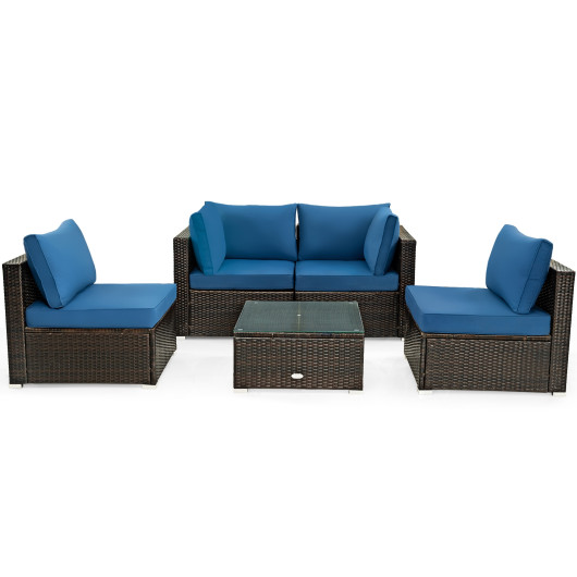 5 Pieces Cushioned Patio Rattan Furniture Set with Glass Table-Navy