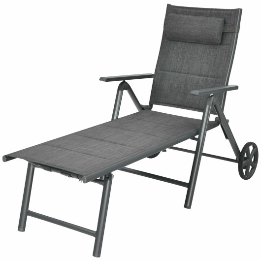 Patio Reclining Chaise Lounge with Adjust Neck Pillow-Gray