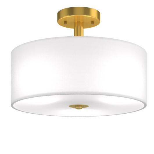 3-Light Semi Flush Mount Ceiling Light Fixture Glass Drum Pendant Lamp
