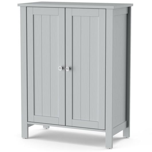 2-Door Bathroom Floor Storage Cabinet Space Saver Organizer-Gray