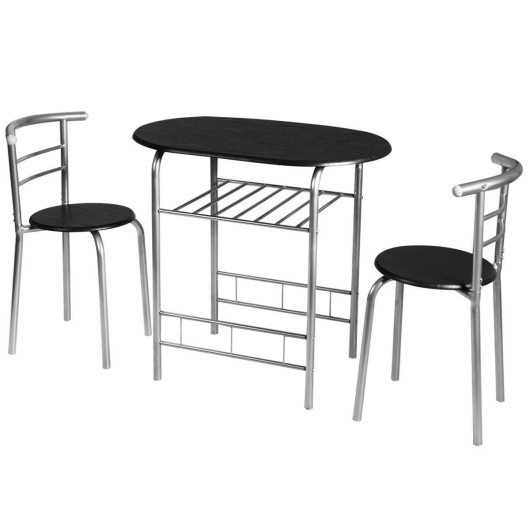 3 pcs Home Kitchen Bistro Pub Dining Table 2 Chairs Set- Silver