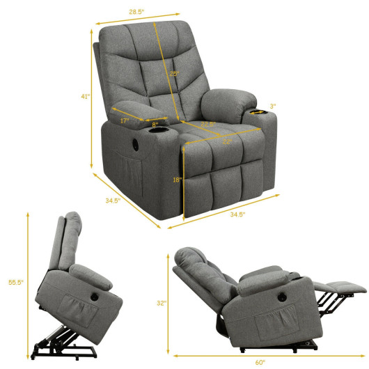 Electric Power Lift Recliner Massage Sofa-Light Gray