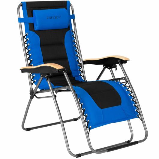 Oversize Folding Adjustable Padded Zero Gravity Lounge Chair-Blue