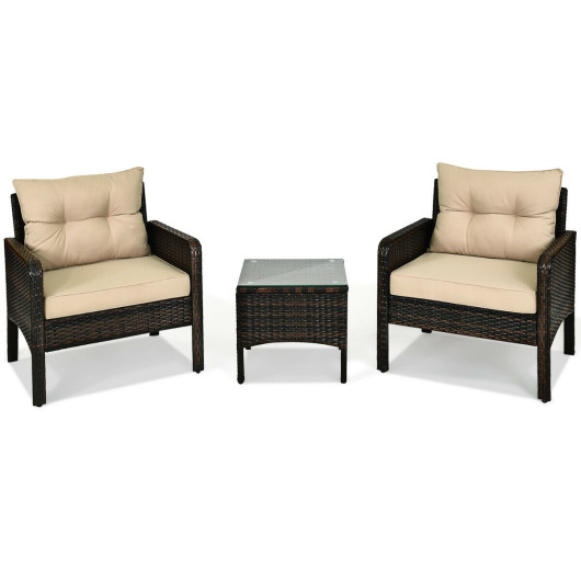 3 Pcs Outdoor Patio Rattan Conversation Set with Seat Cushions-Beige
