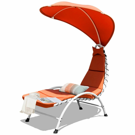 Patio Hanging Swing Hammock Chaise Lounger Chair with Canopy-Orange