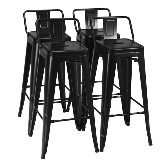 30 Inch Set of 4 Metal Counter Height Barstools with Low Back and Rubber Feet-Black