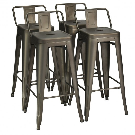 30 Inch Set of 4 Metal Counter Height Barstools with Low Back and Rubber Feet-Gun
