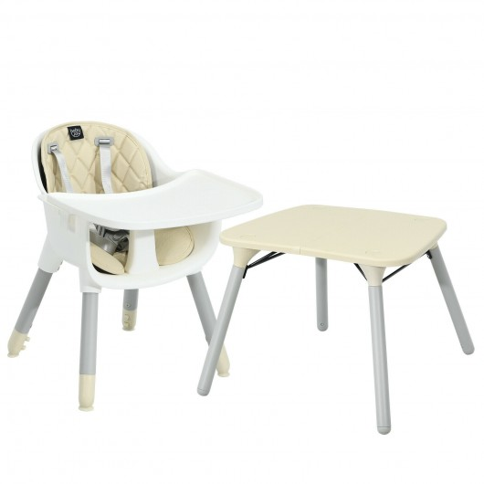4 in 1 Baby Convertible Toddler Table Chair Set with PU Cushion-Beige