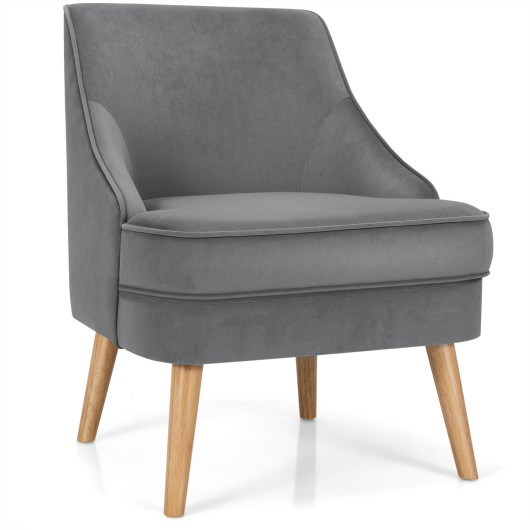 Velvet Upholstered Accent Chair with Rubber Wood Legs-Gray