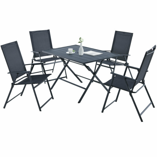 5 Piece Patio Dining Furniture Set with 4 Armchairs and 1 Dining Table-Gray