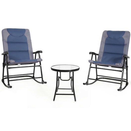 3 Pcs Outdoor Folding Rocking Chair Table Set with Cushion-Blue