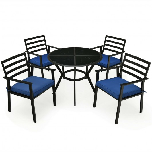 5PCS Outdoor Patio Dining Chair Table Set with Cushions