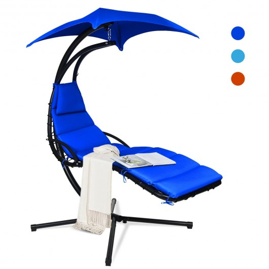 Hanging Stand Chaise Lounger Swing Chair with Pillow-Navy