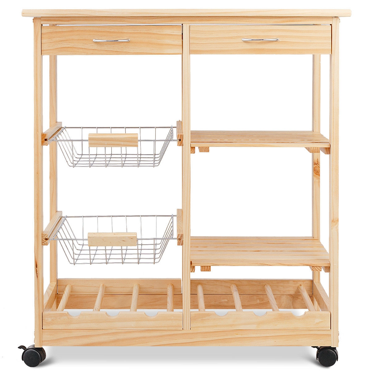 Rolling Wood Trolley Cart with Storage Drawers Baskets