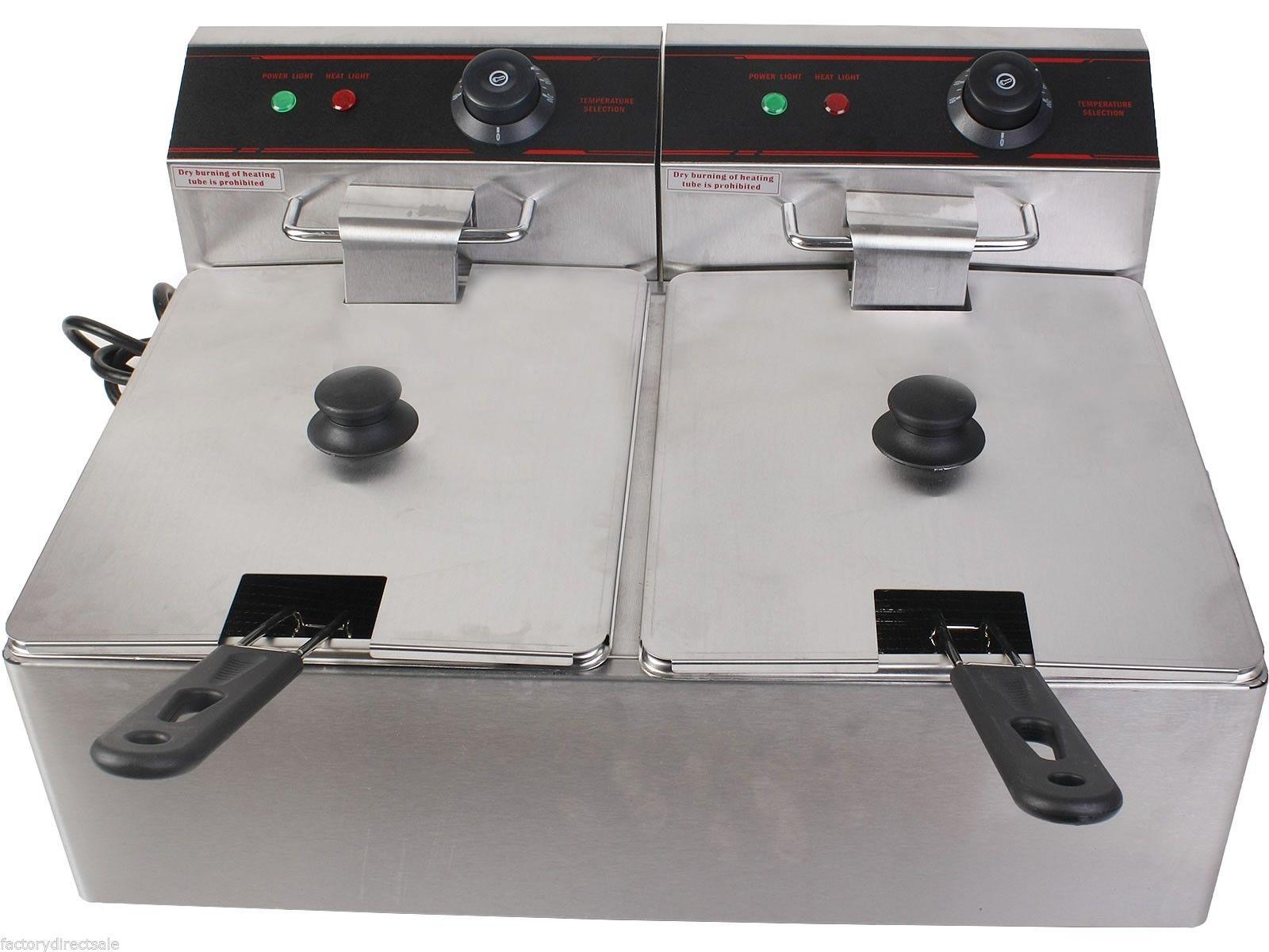 5000W Dual Tank Electric Countertop Deep Fryer EP19233