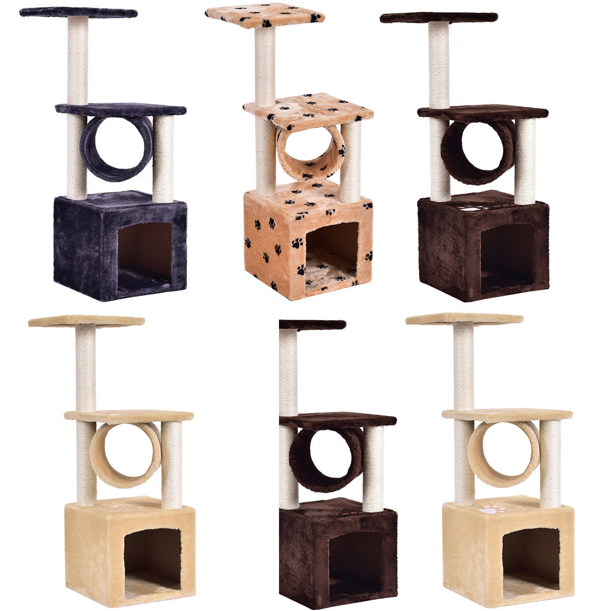 """Deluxe 36"""" Prevent Scratch Post Cat Tree Toy PS5797"""