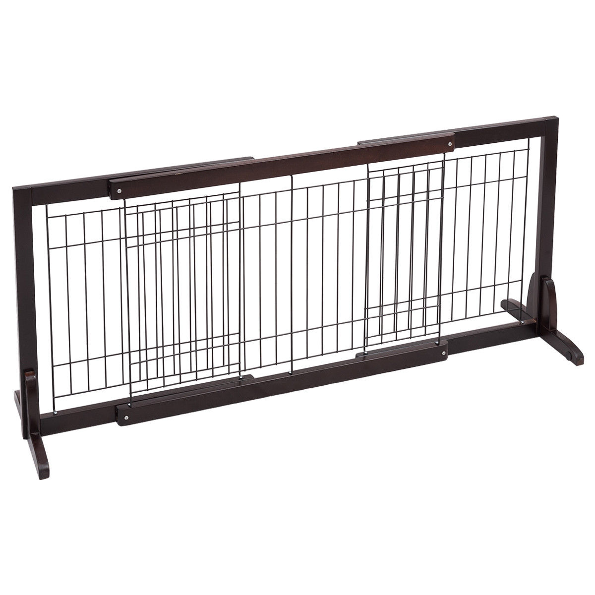 Adjustable Solid Wood Free Stand Dog Gate Pet Fence