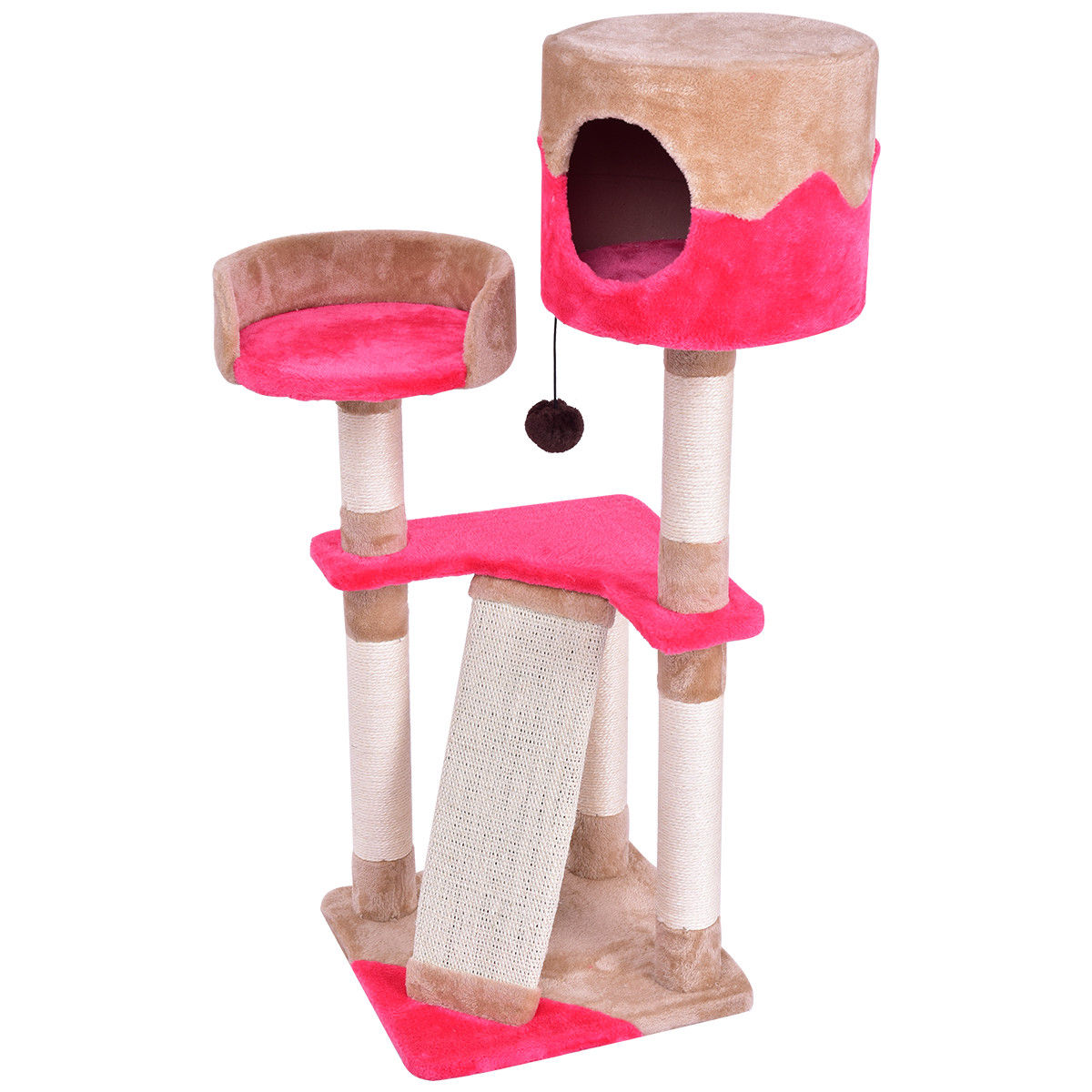 Tower Condo Bed Scratch Post Cat Tree w/ Toy Ball PS7000