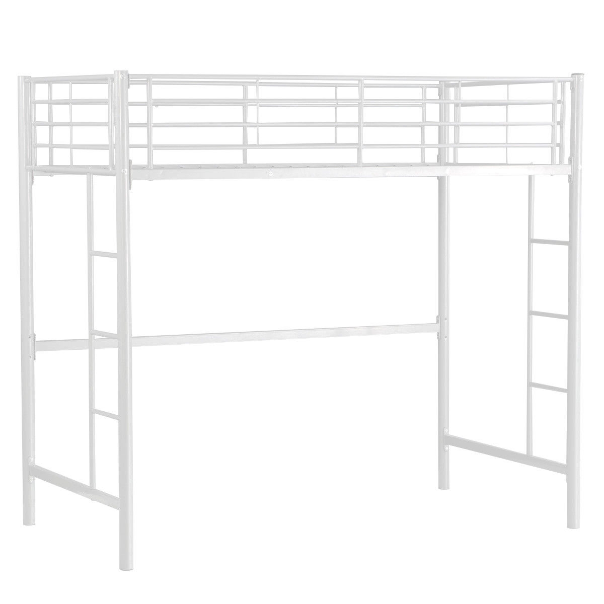 Twin Loft Bed Metal Bunk Ladder Beds Bedroom Dorm