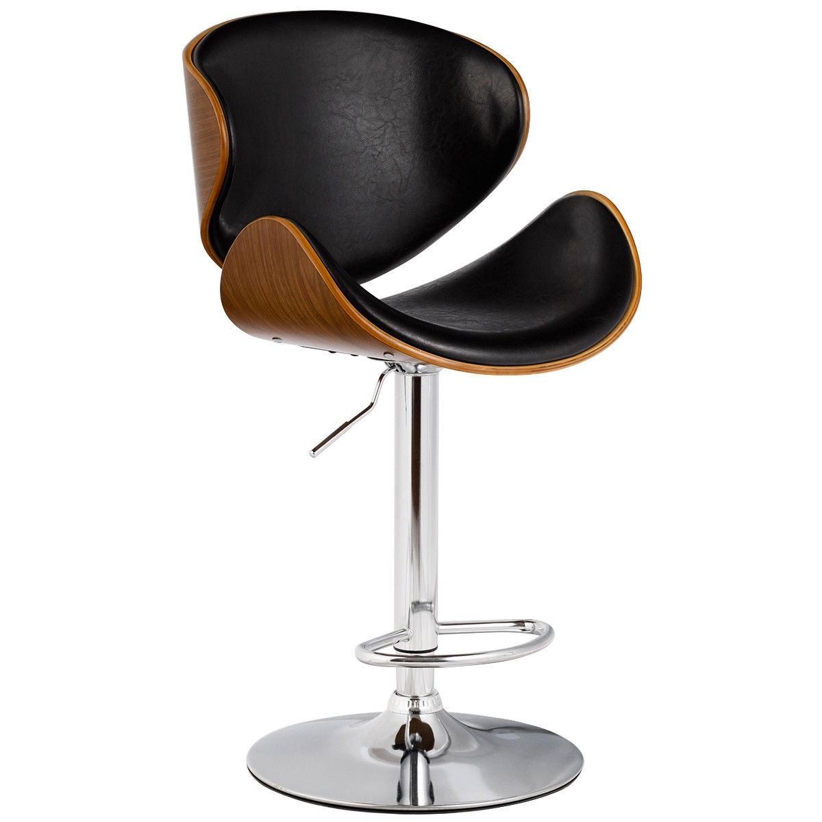 This is our classic bar stool, which will offer you a comfortable seating experience. Its simple but elegant design makes it perfect for home, restaurant, company use etc. It is in high quality and comes at a very good price. Waterproof and anti-aging PU leather combining with heavy duty metal frame provides you years of durable use. It has an ergonomic back design, cushioned seat, and a swivel design, which make it stylish yet comfortable at the same time. Don't hesitate to buy it now and enjoy sitting on it! Brand new and high quality Comfortable back rest with stylish modern design Swivel 360 degrees The base and foot rest, constructed of chromed steel, durable and stable Wear-resisting, breathable, ageing resisting and no peculiar smell Adopts ergonomic principles Wooden seat with PU leather surface Pneumatic adjustable height with handle, easy and safe for adjustment Plating processing can isolate air antirust with strong mirror effect to highlight the texture Polypr