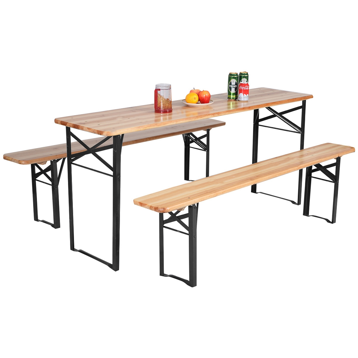 3 pcs Folding Wooden Picnic Table Bench Set