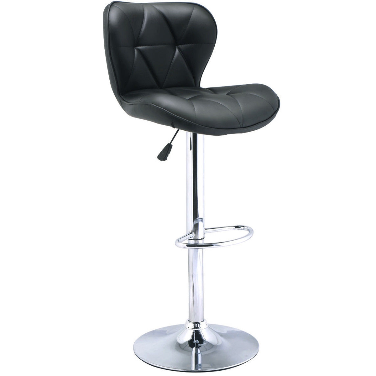 "This swivel bar stool is perfect to decorate your living room and also adds a contemporary touch to your office, bar or restaurant. The bar stool is made of PU leather which is wear-resistant, anti-aging, breathable and no peculiar smell. Featuring a chromed steel base and footrest, the stool is durable and stable. The soft cushion is filled with high-density stereotypes sponges. The backrest with stylish and modern design offers extra comfort. The height can be adjusted easily and safely by a handle and the bar stool can swivel 360 degrees. What's more, it also has a 15.2"" rubber ring bottom to prevent floor from scratching. With ergonomic design, it is stylish and comfortable. Assembly is easy. Don't hesitate to buy it now! Brand new and high quality Comfortable backrest with stylish modern design 360-degree swivel Chromed steel base and footrest, durable and stable Wear-resistant, breathable, anti-aging and no peculiar smell Adopts ergonomic prin"