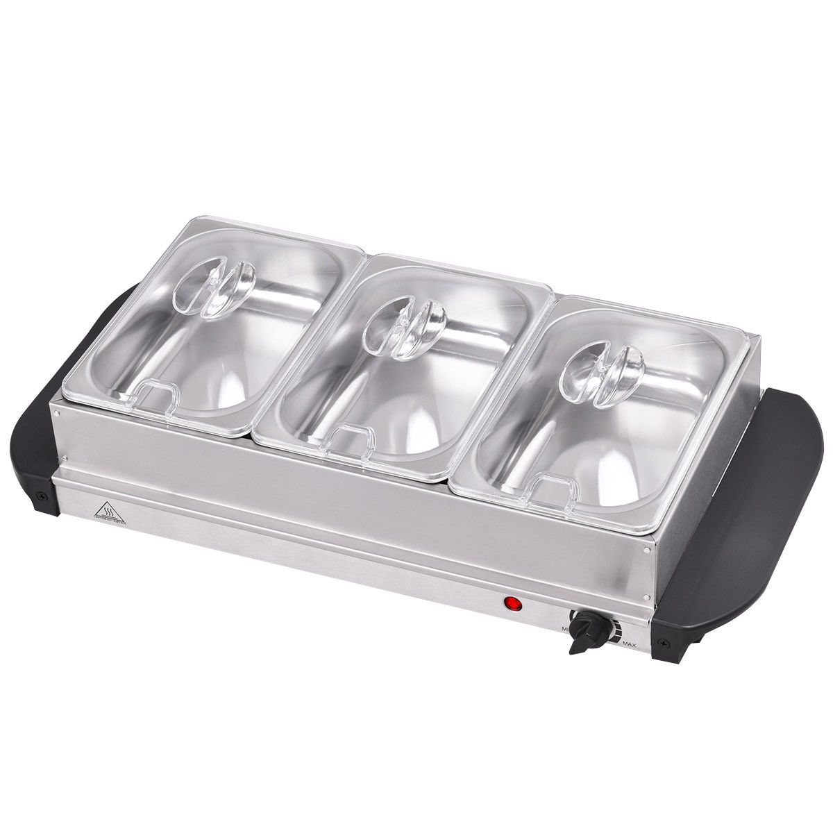 The buffet food sever can keep food hot for long periods of time, making it ideal for all types of catering situations. Cool touch handles and non slip feet great for buffets bbq's and parties. The large hot tray area has 3 removable trays for keeping food warm ensuring you can serve it at the right temperature. Every time, they will never know when the food was made because the taste of these foods is just like the one just made. If you are looking for a food sever, don't hesitate to buy it! Brand new and high quality stainless steel food server Three 1-1/2 quart buffet pans with lids Stainless steel warming tray Power indicator light and cool-touch handles According to the temperature control knob to maintain the desired temperature The indicator light will turn off once the desired temperature is reached Fast and easy way to heat food warm up food Compact and light weight designs Easy to clean